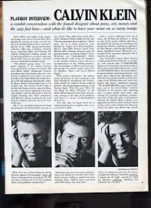 Calvin Klein Playboy Article